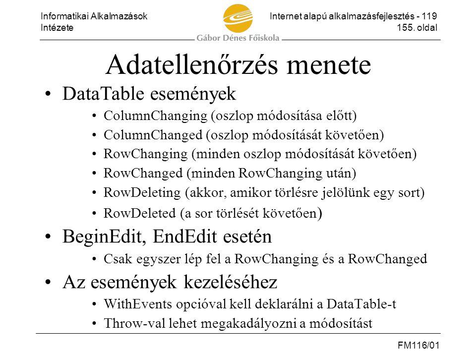 Informatikai AlkalmazásokInternet alapú alkalmazásfejlesztés - 119 Intézete155. oldal FM116/01 Adatellenőrzés menete •DataTable események •ColumnChang