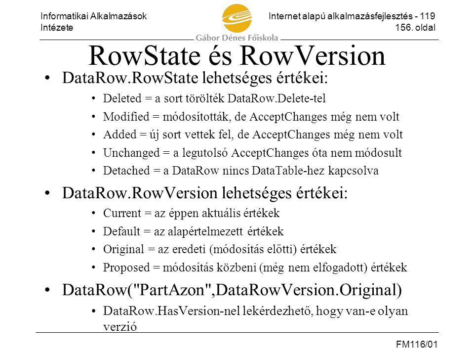 Informatikai AlkalmazásokInternet alapú alkalmazásfejlesztés - 119 Intézete156. oldal FM116/01 RowState és RowVersion •DataRow.RowState lehetséges ért