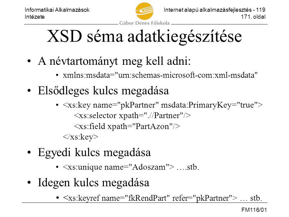 Informatikai AlkalmazásokInternet alapú alkalmazásfejlesztés - 119 Intézete171. oldal FM116/01 XSD séma adatkiegészítése •A névtartományt meg kell adn