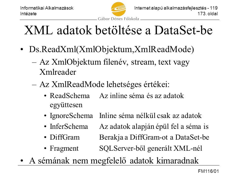 Informatikai AlkalmazásokInternet alapú alkalmazásfejlesztés - 119 Intézete173. oldal FM116/01 XML adatok betöltése a DataSet-be •Ds.ReadXml(XmlObjekt
