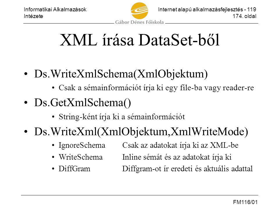 Informatikai AlkalmazásokInternet alapú alkalmazásfejlesztés - 119 Intézete174. oldal FM116/01 XML írása DataSet-ből •Ds.WriteXmlSchema(XmlObjektum) •