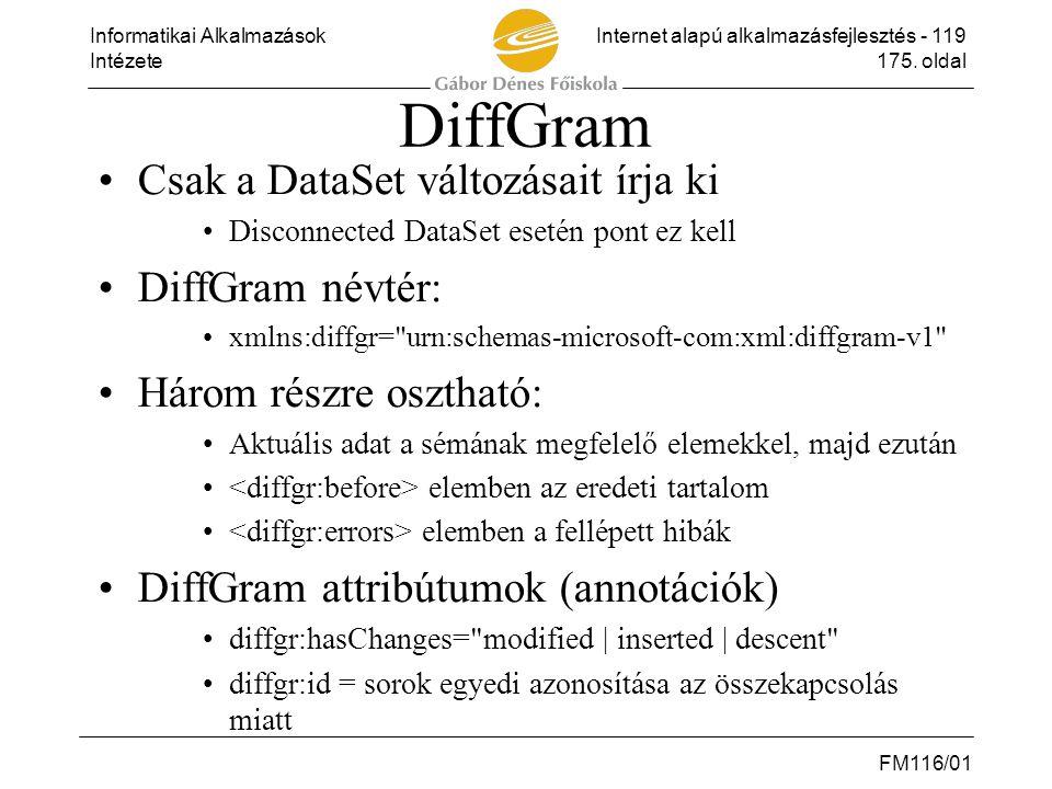 Informatikai AlkalmazásokInternet alapú alkalmazásfejlesztés - 119 Intézete175. oldal FM116/01 DiffGram •Csak a DataSet változásait írja ki •Disconnec