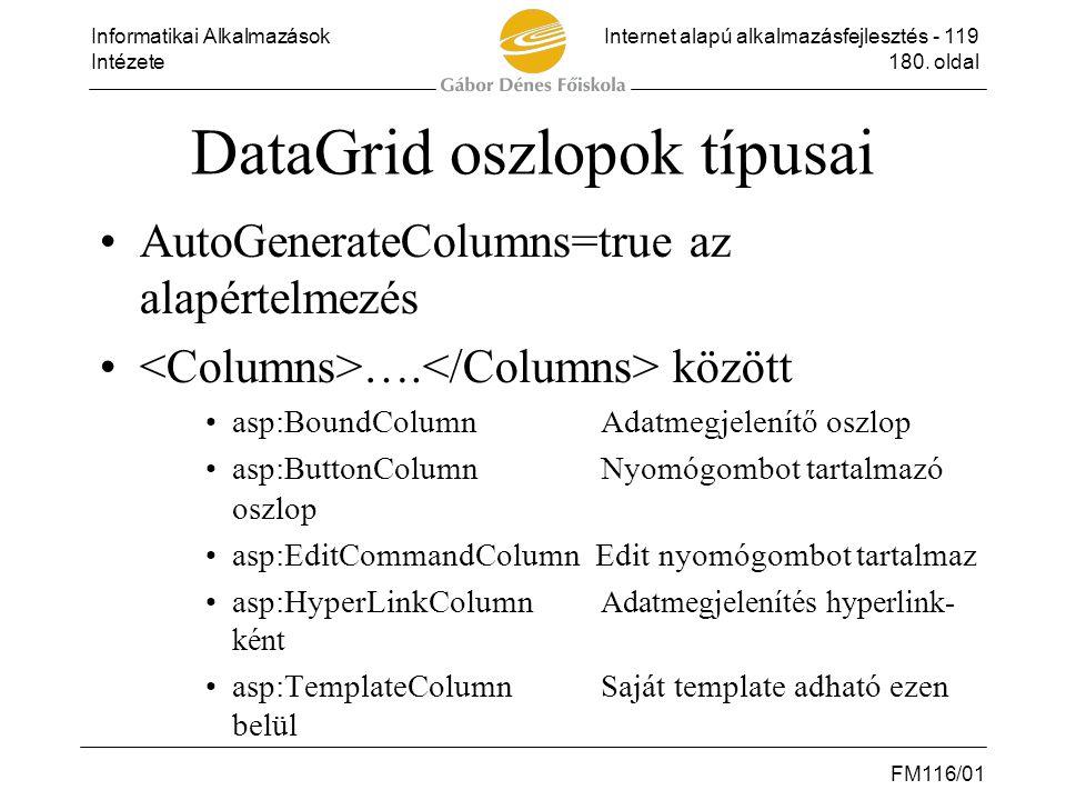 Informatikai AlkalmazásokInternet alapú alkalmazásfejlesztés - 119 Intézete180. oldal FM116/01 DataGrid oszlopok típusai •AutoGenerateColumns=true az