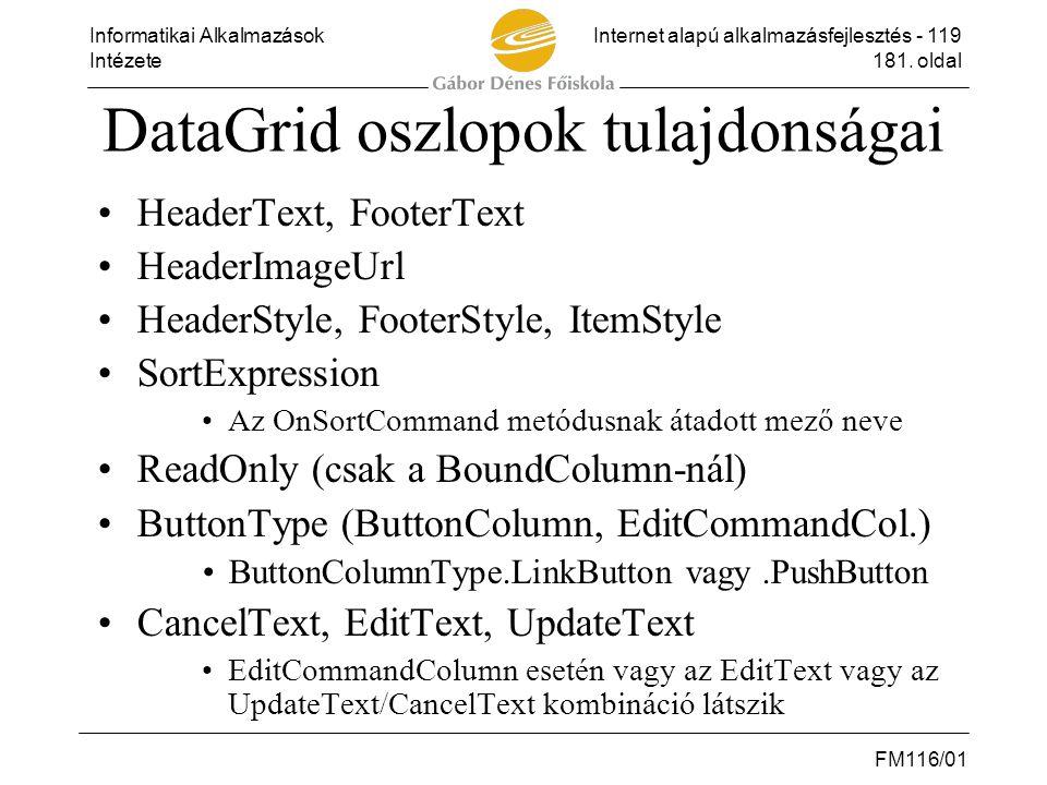 Informatikai AlkalmazásokInternet alapú alkalmazásfejlesztés - 119 Intézete181. oldal FM116/01 DataGrid oszlopok tulajdonságai •HeaderText, FooterText