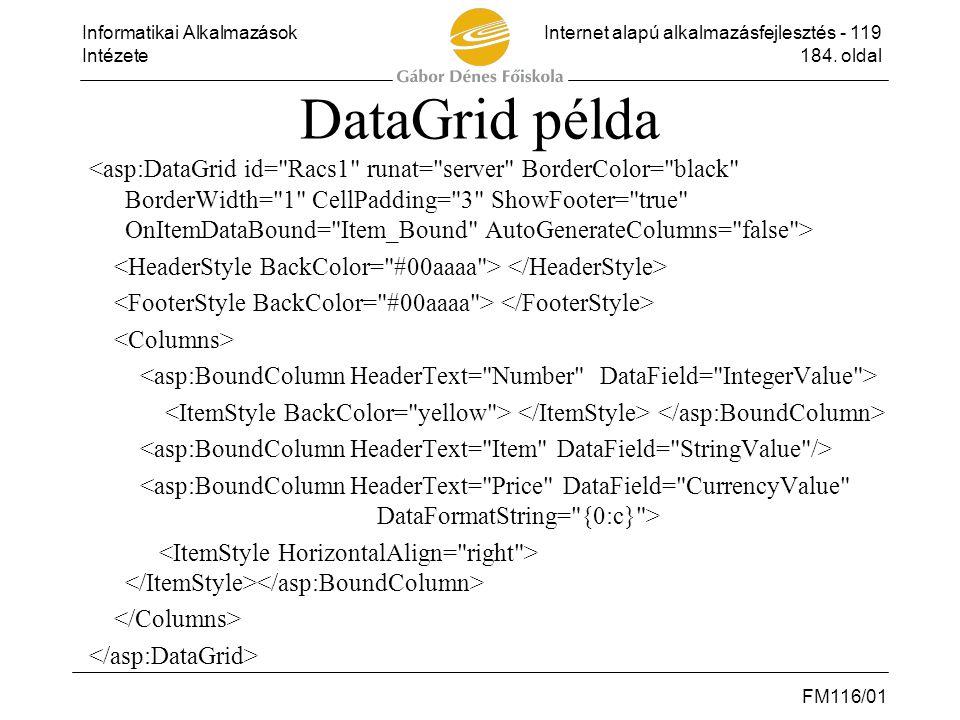 Informatikai AlkalmazásokInternet alapú alkalmazásfejlesztés - 119 Intézete184. oldal FM116/01 DataGrid példa