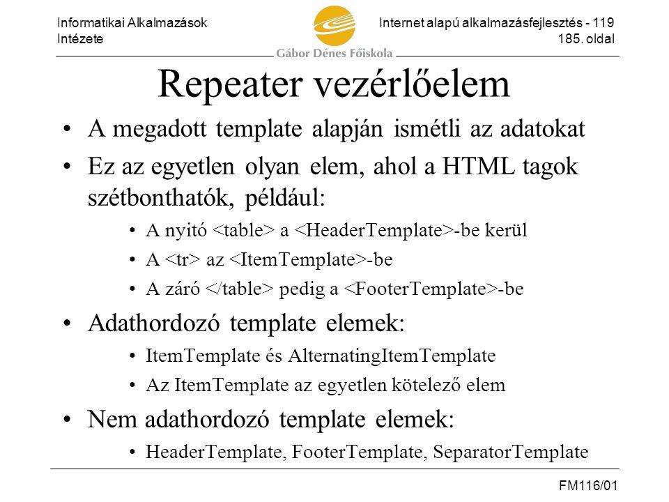 Informatikai AlkalmazásokInternet alapú alkalmazásfejlesztés - 119 Intézete185. oldal FM116/01 Repeater vezérlőelem •A megadott template alapján ismét
