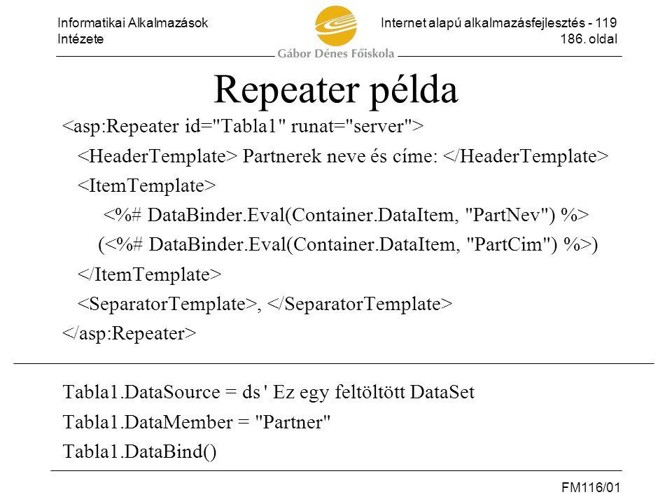 Informatikai AlkalmazásokInternet alapú alkalmazásfejlesztés - 119 Intézete186. oldal FM116/01 Repeater példa Partnerek neve és címe: ( ), Tabla1.Data