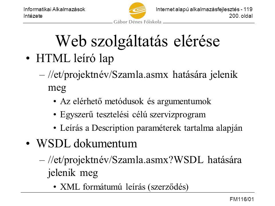 Informatikai AlkalmazásokInternet alapú alkalmazásfejlesztés - 119 Intézete200. oldal FM116/01 Web szolgáltatás elérése •HTML leíró lap –//et/projektn