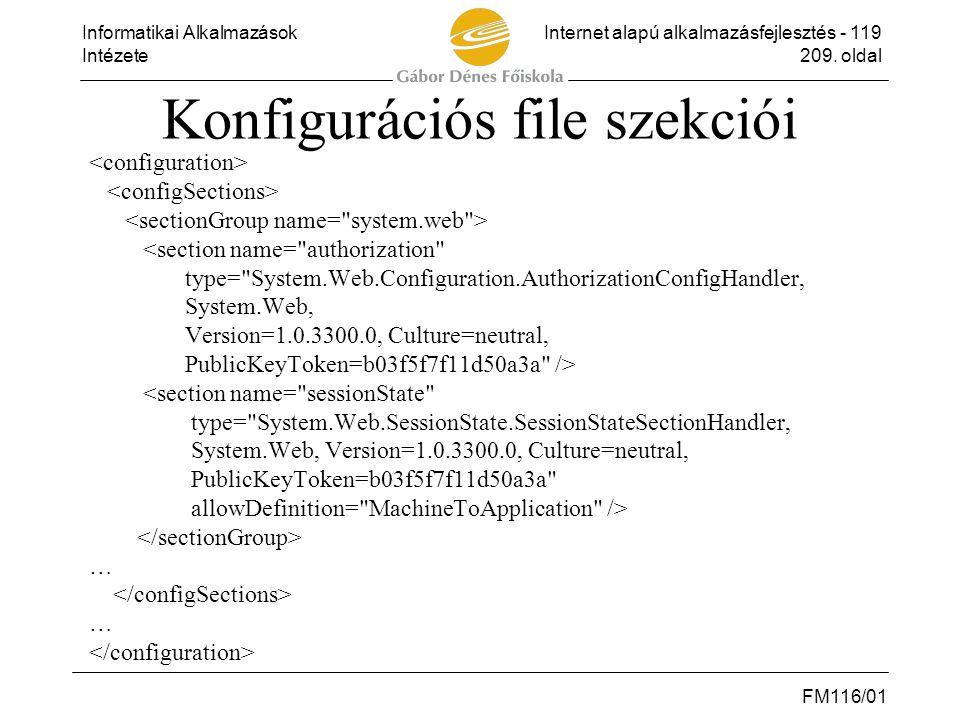 Informatikai AlkalmazásokInternet alapú alkalmazásfejlesztés - 119 Intézete209. oldal FM116/01 Konfigurációs file szekciói <section name=