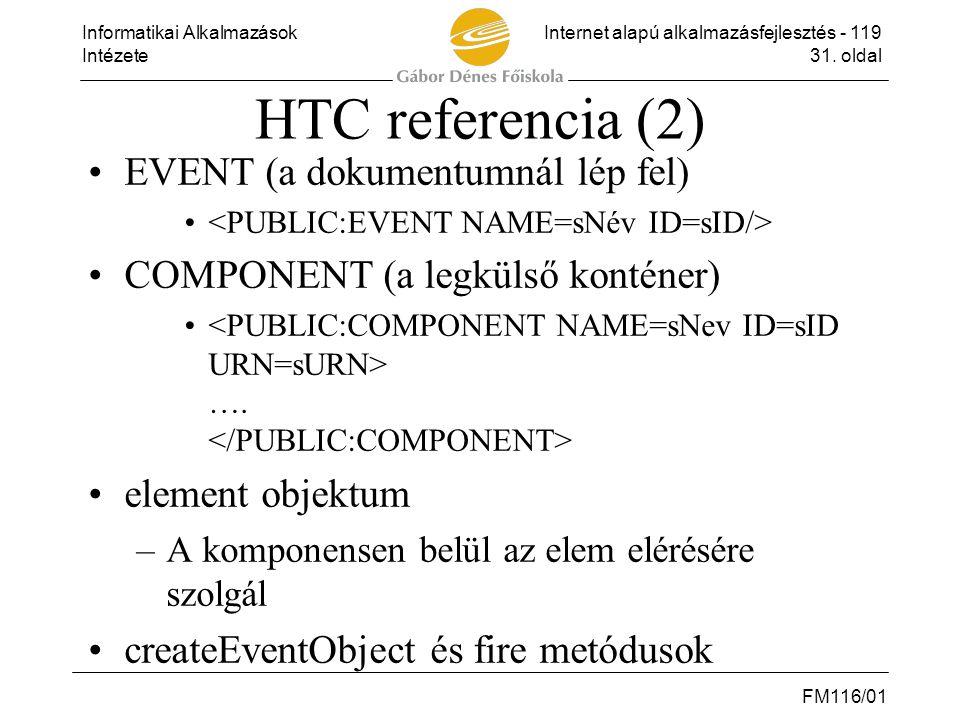 Informatikai AlkalmazásokInternet alapú alkalmazásfejlesztés - 119 Intézete31. oldal FM116/01 HTC referencia (2) •EVENT (a dokumentumnál lép fel) • •C