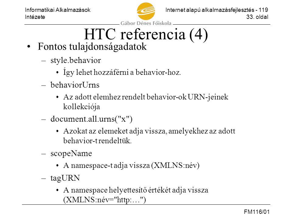 Informatikai AlkalmazásokInternet alapú alkalmazásfejlesztés - 119 Intézete33. oldal FM116/01 HTC referencia (4) •Fontos tulajdonságadatok –style.beha