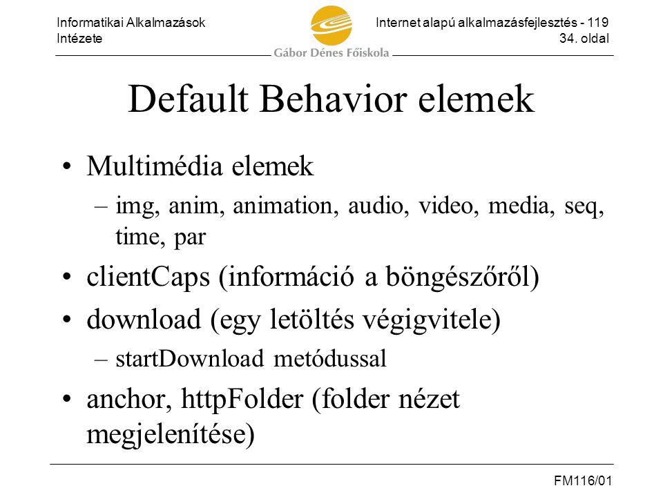 Informatikai AlkalmazásokInternet alapú alkalmazásfejlesztés - 119 Intézete34. oldal FM116/01 Default Behavior elemek •Multimédia elemek –img, anim, a