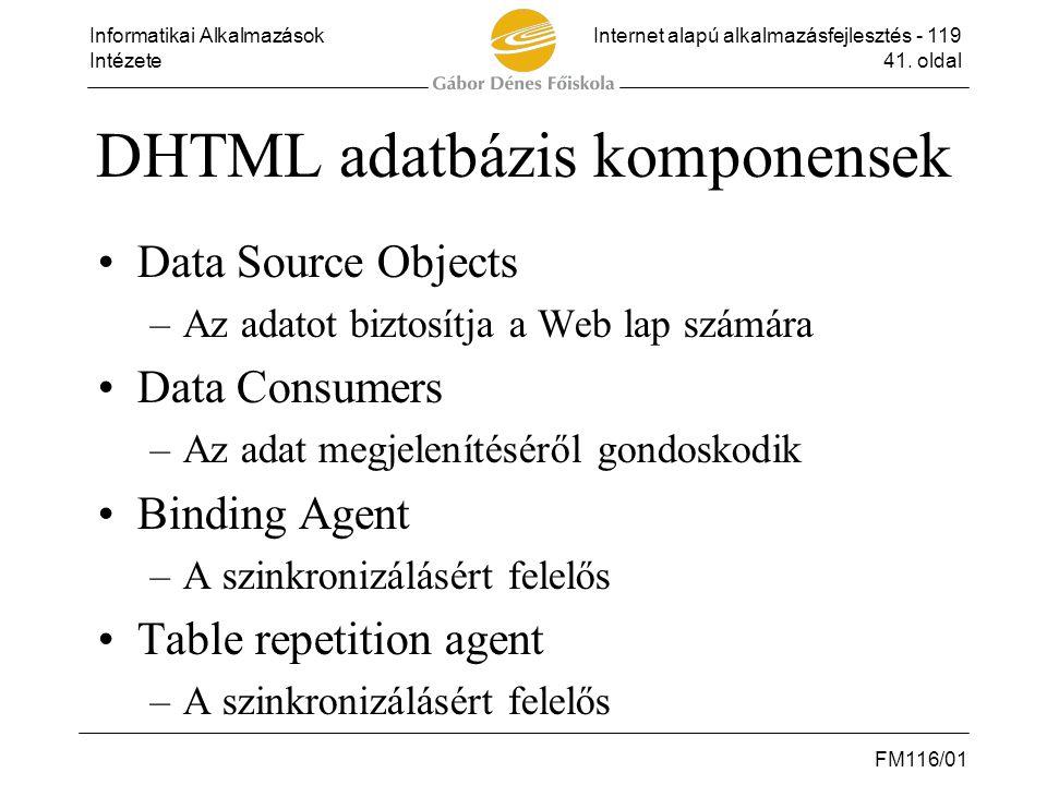 Informatikai AlkalmazásokInternet alapú alkalmazásfejlesztés - 119 Intézete41. oldal FM116/01 DHTML adatbázis komponensek •Data Source Objects –Az ada