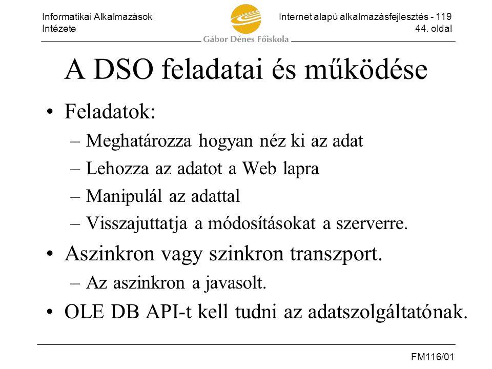 Informatikai AlkalmazásokInternet alapú alkalmazásfejlesztés - 119 Intézete44. oldal FM116/01 A DSO feladatai és működése •Feladatok: –Meghatározza ho