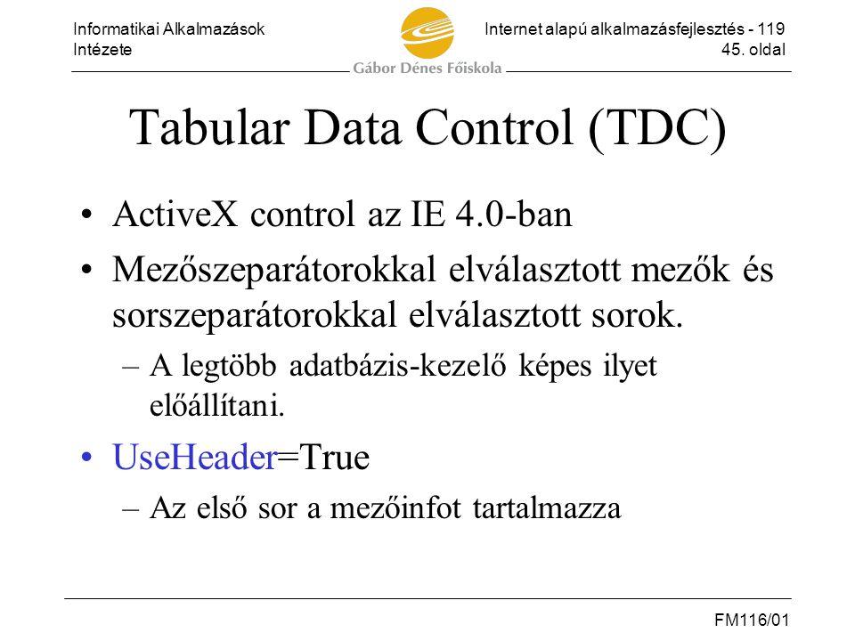 Informatikai AlkalmazásokInternet alapú alkalmazásfejlesztés - 119 Intézete45. oldal FM116/01 Tabular Data Control (TDC) •ActiveX control az IE 4.0-ba