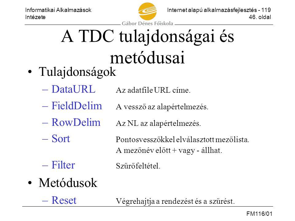 Informatikai AlkalmazásokInternet alapú alkalmazásfejlesztés - 119 Intézete46. oldal FM116/01 A TDC tulajdonságai és metódusai •Tulajdonságok –DataURL