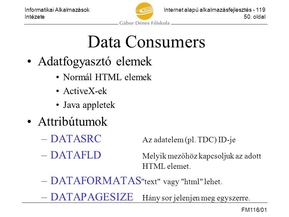 Informatikai AlkalmazásokInternet alapú alkalmazásfejlesztés - 119 Intézete50. oldal FM116/01 Data Consumers •Adatfogyasztó elemek •Normál HTML elemek