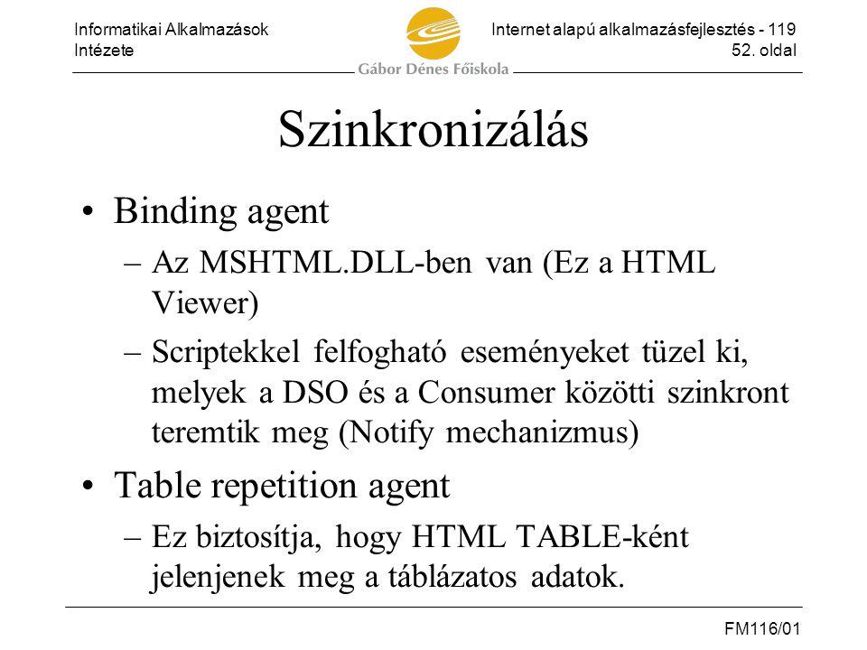 Informatikai AlkalmazásokInternet alapú alkalmazásfejlesztés - 119 Intézete52. oldal FM116/01 Szinkronizálás •Binding agent –Az MSHTML.DLL-ben van (Ez