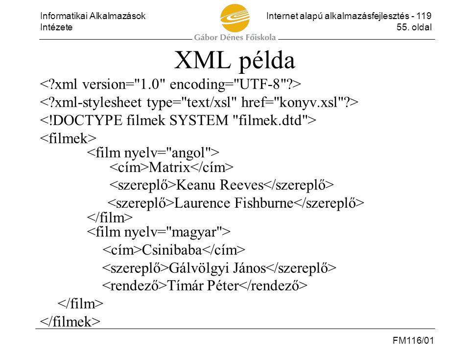 Informatikai AlkalmazásokInternet alapú alkalmazásfejlesztés - 119 Intézete55. oldal FM116/01 XML példa Matrix Keanu Reeves Laurence Fishburne Csiniba