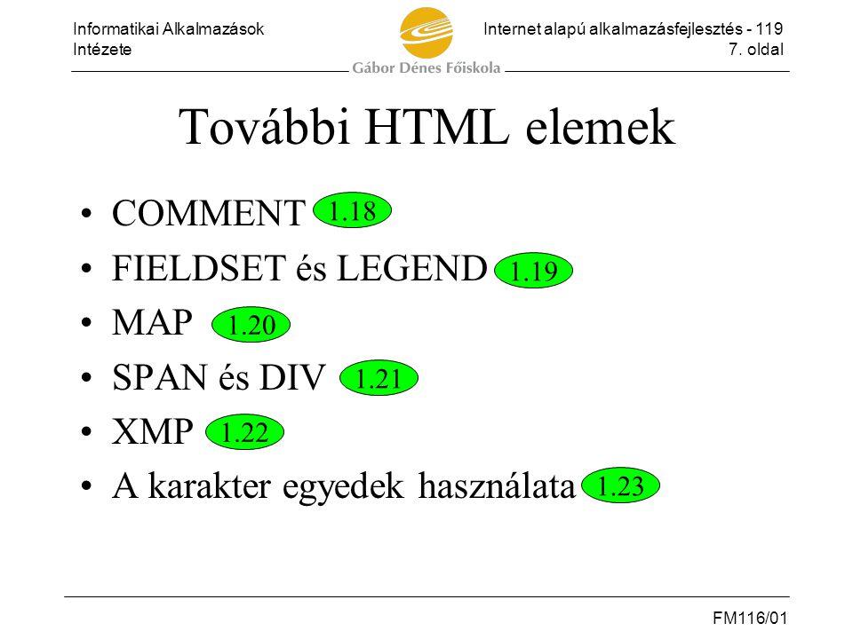 Informatikai AlkalmazásokInternet alapú alkalmazásfejlesztés - 119 Intézete7. oldal FM116/01 További HTML elemek •COMMENT •FIELDSET és LEGEND •MAP •SP