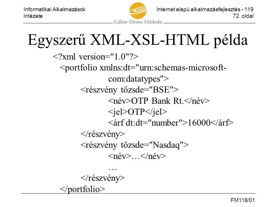 Informatikai AlkalmazásokInternet alapú alkalmazásfejlesztés - 119 Intézete72. oldal FM116/01 Egyszerű XML-XSL-HTML példa OTP Bank Rt. OTP 16000 … …