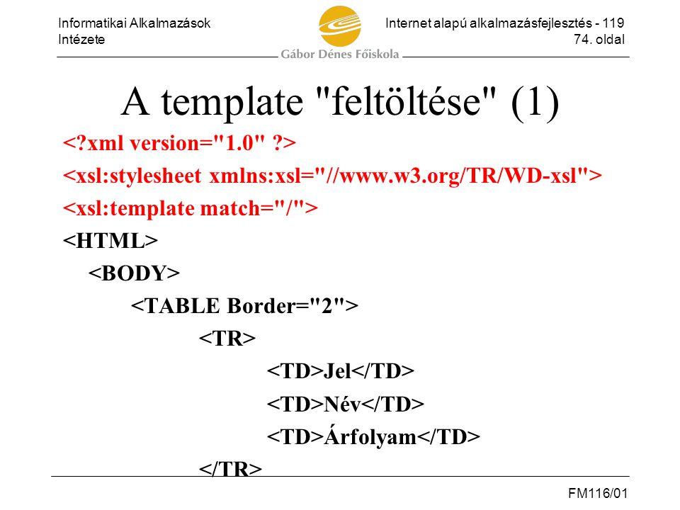 Informatikai AlkalmazásokInternet alapú alkalmazásfejlesztés - 119 Intézete74. oldal FM116/01 A template