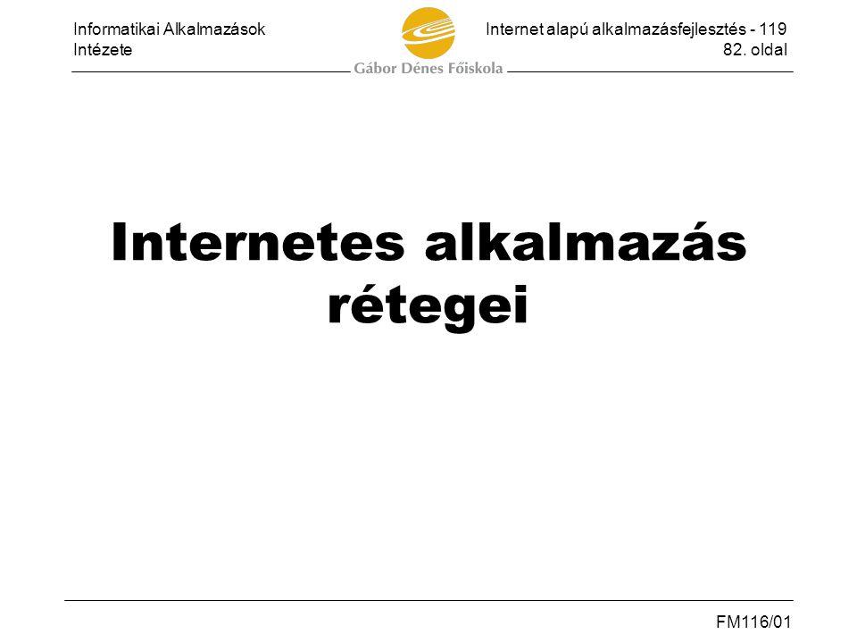 Informatikai AlkalmazásokInternet alapú alkalmazásfejlesztés - 119 Intézete82. oldal FM116/01 Internetes alkalmazás rétegei