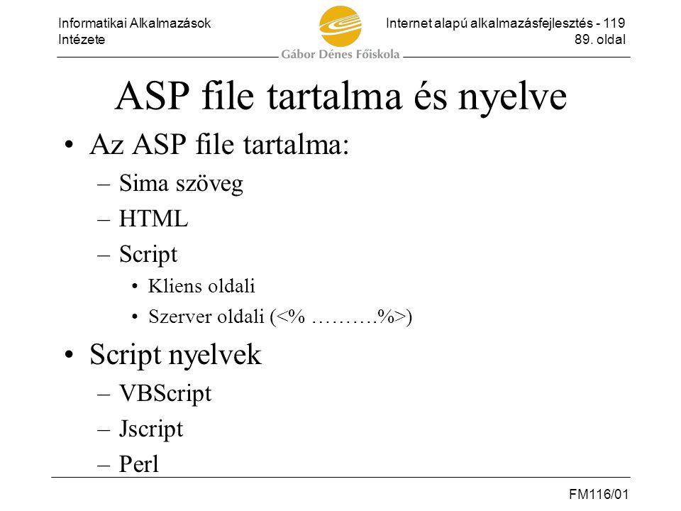Informatikai AlkalmazásokInternet alapú alkalmazásfejlesztés - 119 Intézete89. oldal FM116/01 ASP file tartalma és nyelve •Az ASP file tartalma: –Sima