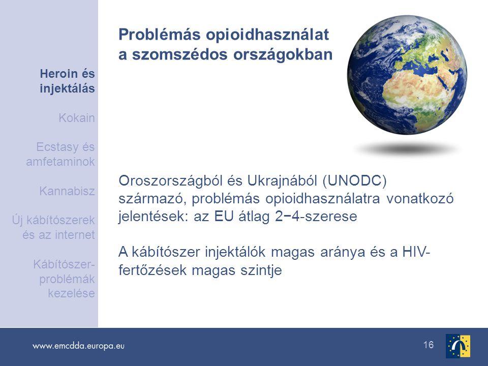 16 Oroszországból és Ukrajnából (UNODC) származó, problémás opioidhasználatra vonatkozó jelentések: az EU átlag 2−4-szerese A kábítószer injektálók ma