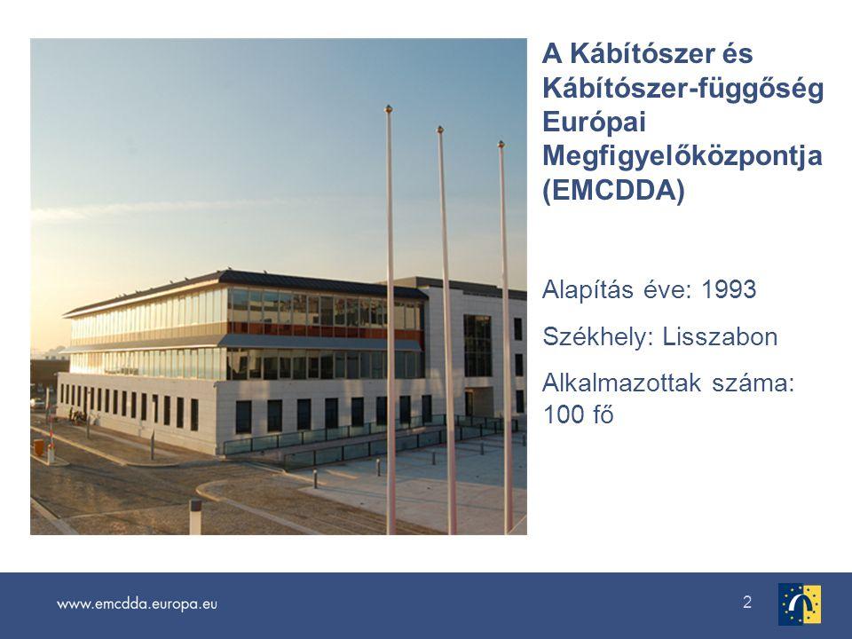 2 A Kábítószer és Kábítószer-függőség Európai Megfigyelőközpontja (EMCDDA) Alapítás éve: 1993 Székhely: Lisszabon Alkalmazottak száma: 100 fő
