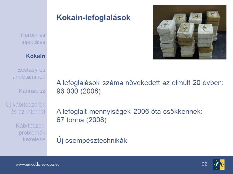 22 A lefoglalások száma növekedett az elmúlt 20 évben: 96 000 (2008) A lefoglalt mennyiségek 2006 óta csökkennek: 67 tonna (2008) Új csempésztechnikák