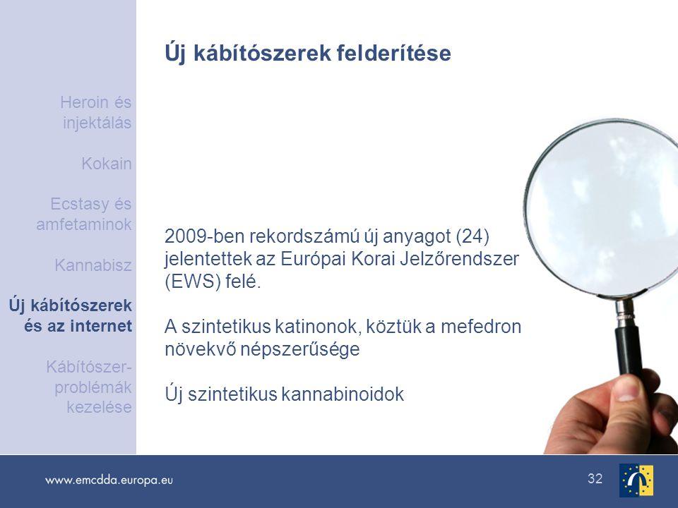 32 Új kábítószerek felderítése 2009-ben rekordszámú új anyagot (24) jelentettek az Európai Korai Jelzőrendszer (EWS) felé. A szintetikus katinonok, kö