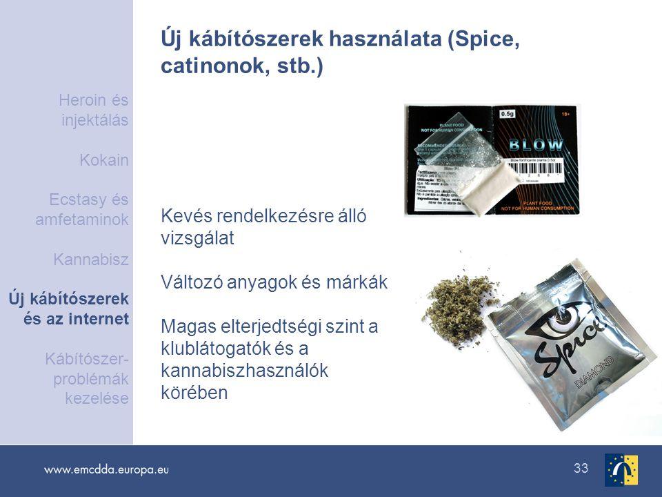 33 Új kábítószerek használata (Spice, catinonok, stb.) Kevés rendelkezésre álló vizsgálat Változó anyagok és márkák Magas elterjedtségi szint a klublá