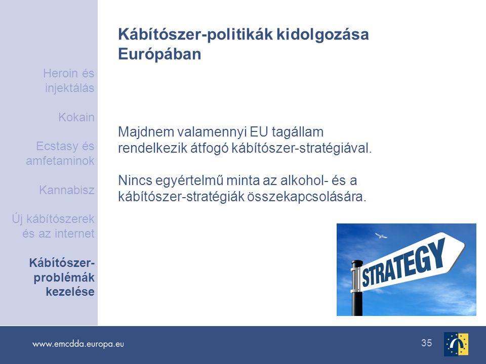 35 Kábítószer-politikák kidolgozása Európában Majdnem valamennyi EU tagállam rendelkezik átfogó kábítószer-stratégiával. Nincs egyértelmű minta az alk