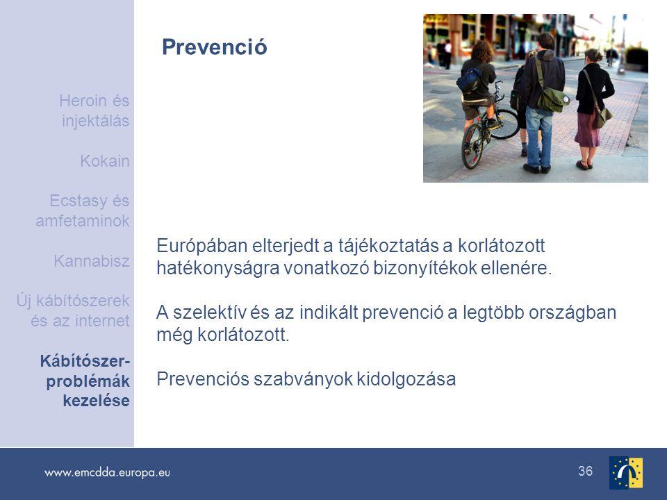 36 Prevenció Európában elterjedt a tájékoztatás a korlátozott hatékonyságra vonatkozó bizonyítékok ellenére. A szelektív és az indikált prevenció a le