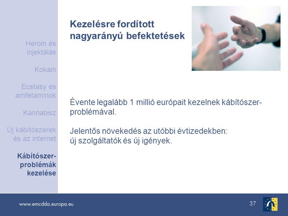 37 Kezelésre fordított nagyarányú befektetések Évente legalább 1 millió európait kezelnek kábítószer- problémával. Jelentős növekedés az utóbbi évtize