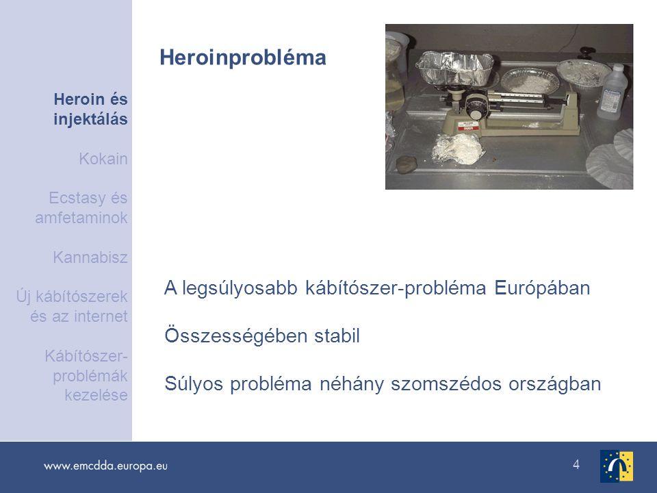 4 A legsúlyosabb kábítószer-probléma Európában Összességében stabil Súlyos probléma néhány szomszédos országban Heroinprobléma Heroin és injektálás Ko