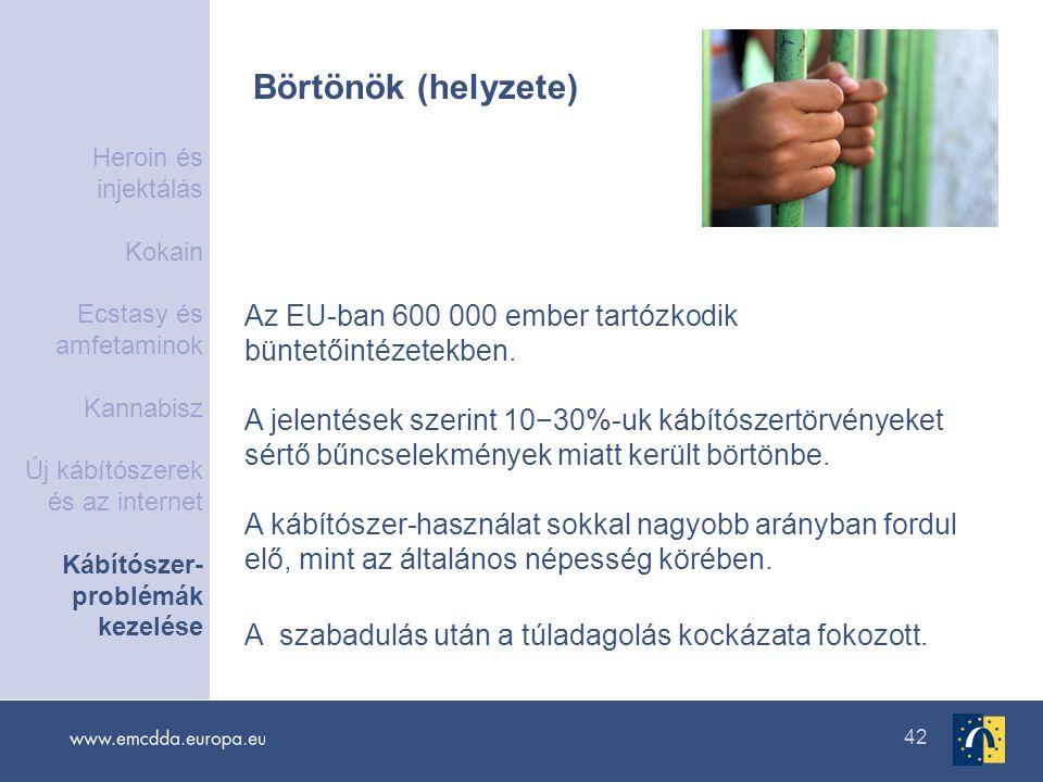 42 Börtönök (helyzete) Az EU-ban 600 000 ember tartózkodik büntetőintézetekben. A jelentések szerint 10−30%-uk kábítószertörvényeket sértő bűncselekmé
