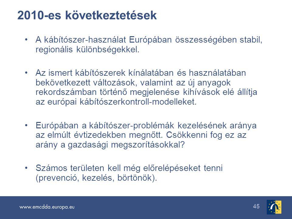 45 2010-es következtetések •A kábítószer-használat Európában összességében stabil, regionális különbségekkel. •Az ismert kábítószerek kínálatában és h