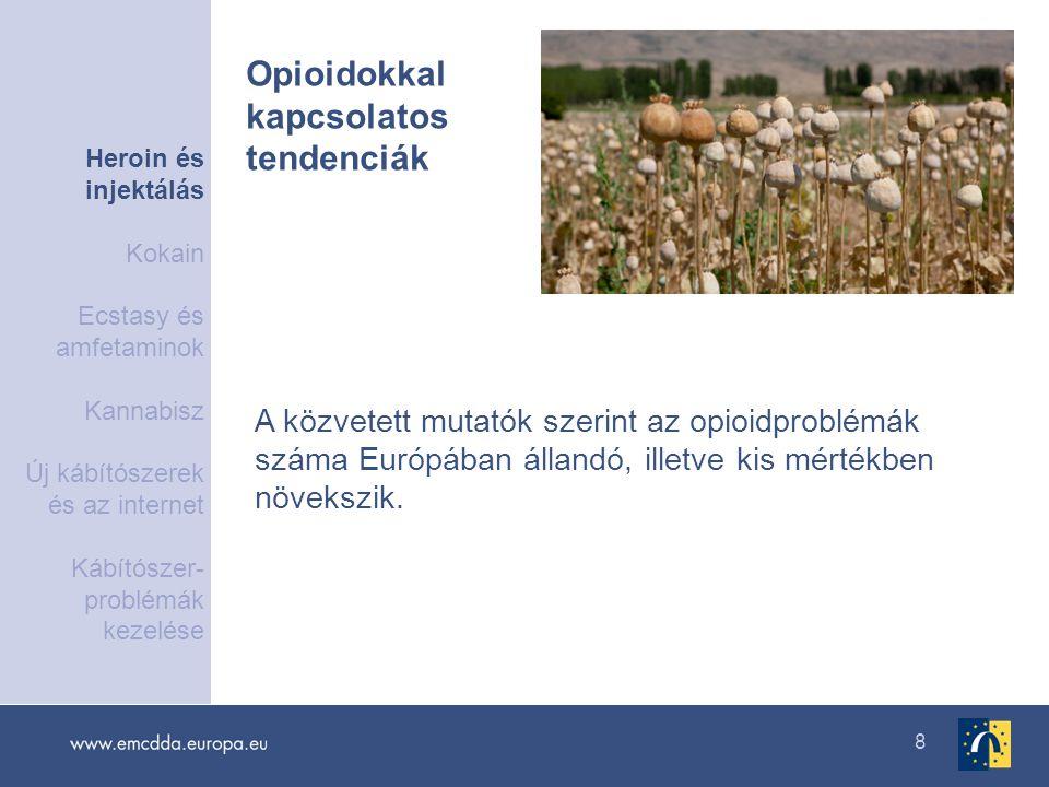 8 A közvetett mutatók szerint az opioidproblémák száma Európában állandó, illetve kis mértékben növekszik. Opioidokkal kapcsolatos tendenciák Heroin é