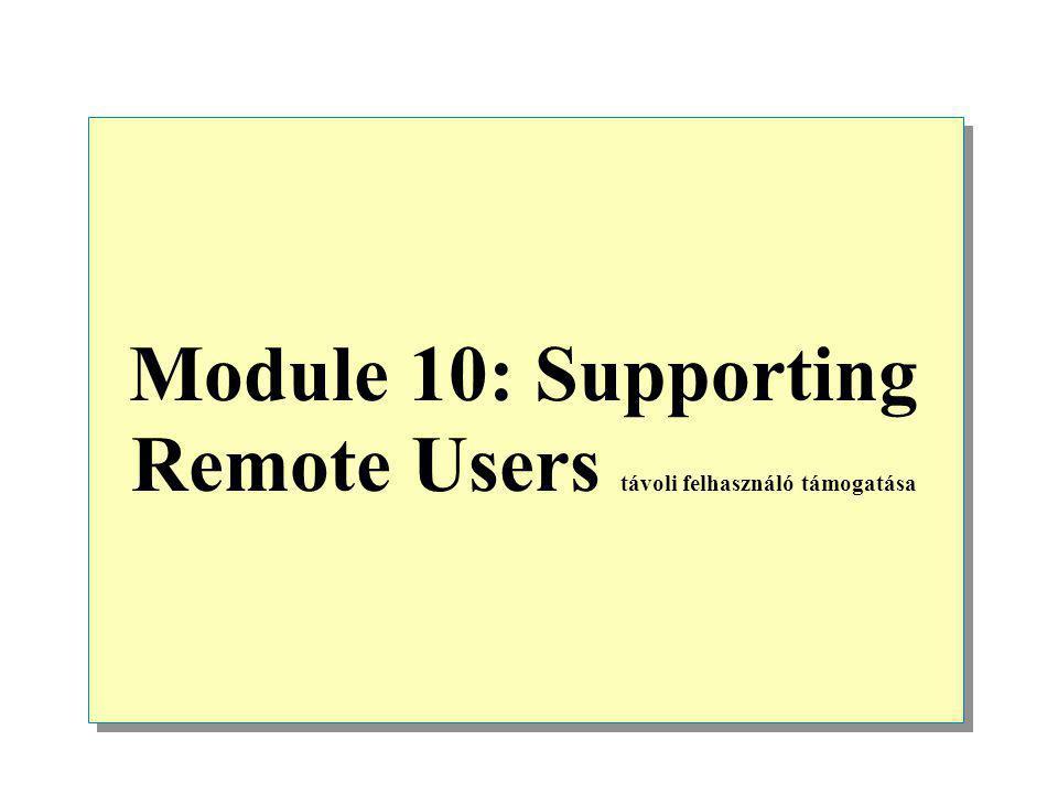 Module 10: Supporting Remote Users távoli felhasználó támogatása