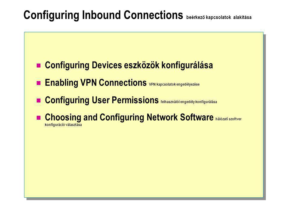Configuring Inbound Connections beérkező kapcsolatok alakítása  Configuring Devices eszközök konfigurálása  Enabling VPN Connections VPN kapcsolatok engedélyezése  Configuring User Permissions felhasználói engedély konfigurálása  Choosing and Configuring Network Software hálózati szoftver konfiguráció választása