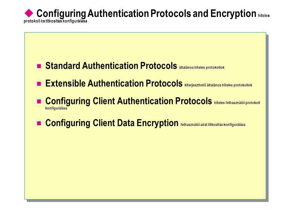 Configuring Authentication Protocols and Encryption hiteles protokoll és titkosítás konfigurálása  Standard Authentication Protocols általános hiteles protokollok  Extensible Authentication Protocols kiterjeszthető általános hiteles protokollok  Configuring Client Authentication Protocols hiteles felhasználói protokoll konfigurálása  Configuring Client Data Encryption felhasználói adat titkosítás konfigurálása
