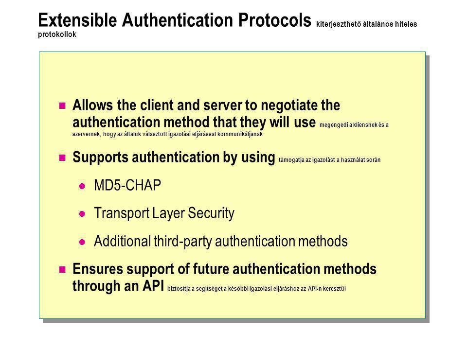 Extensible Authentication Protocols kiterjeszthető általános hiteles protokollok  Allows the client and server to negotiate the authentication method that they will use megengedi a kliensnek és a szervernek, hogy az általuk választott igazolási eljárással kommunikáljanak  Supports authentication by using támogatja az igazolást a használat során  MD5-CHAP  Transport Layer Security  Additional third-party authentication methods  Ensures support of future authentication methods through an API biztosítja a segítséget a későbbi igazolási eljáráshoz az API-n keresztül