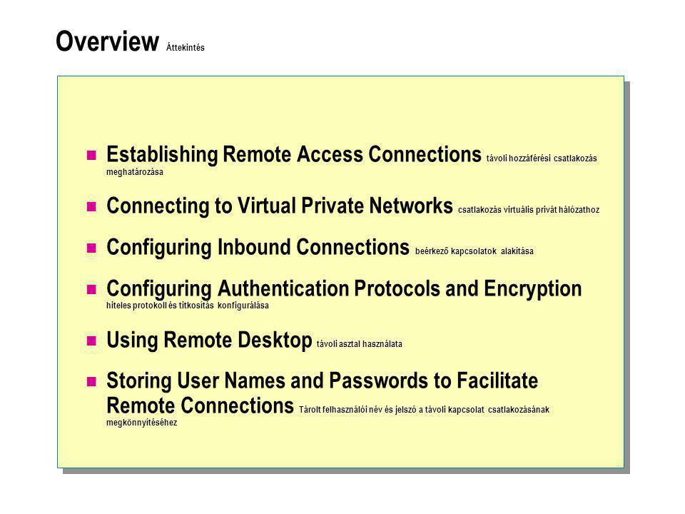 Overview Áttekintés  Establishing Remote Access Connections távoli hozzáférési csatlakozás meghatározása  Connecting to Virtual Private Networks csatlakozás virtuális privát hálózathoz  Configuring Inbound Connections beérkező kapcsolatok alakítása  Configuring Authentication Protocols and Encryption hiteles protokoll és titkosítás konfigurálása  Using Remote Desktop távoli asztal használata  Storing User Names and Passwords to Facilitate Remote Connections Tárolt felhasználói név és jelszó a távoli kapcsolat csatlakozásának megkönnyítéséhez