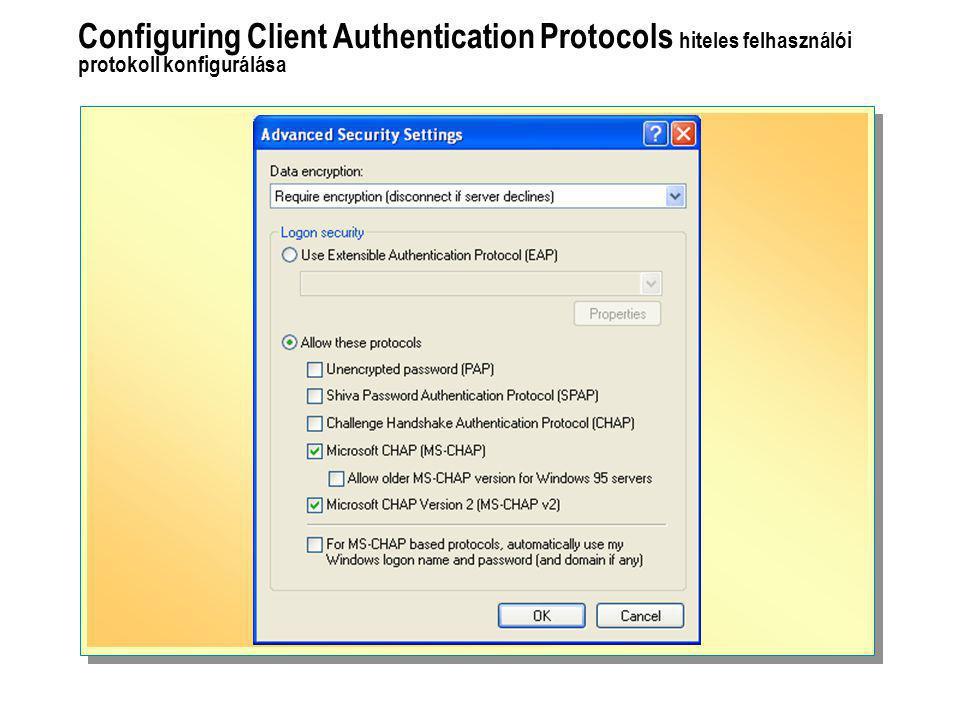 Configuring Client Authentication Protocols hiteles felhasználói protokoll konfigurálása