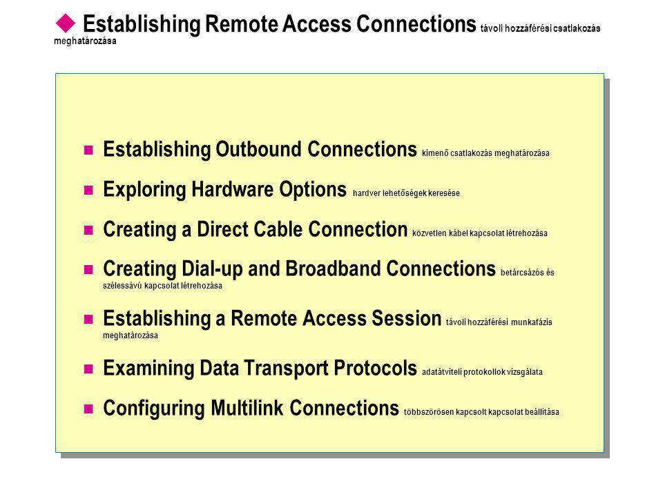  Establishing Remote Access Connections távoli hozzáférési csatlakozás meghatározása  Establishing Outbound Connections kimenő csatlakozás meghatározása  Exploring Hardware Options hardver lehetőségek keresése  Creating a Direct Cable Connection közvetlen kábel kapcsolat létrehozása  Creating Dial-up and Broadband Connections betárcsázós és szélessávú kapcsolat létrehozása  Establishing a Remote Access Session távoli hozzáférési munkafázis meghatározása  Examining Data Transport Protocols adatátviteli protokollok vizsgálata  Configuring Multilink Connections többszörösen kapcsolt kapcsolat beállítása