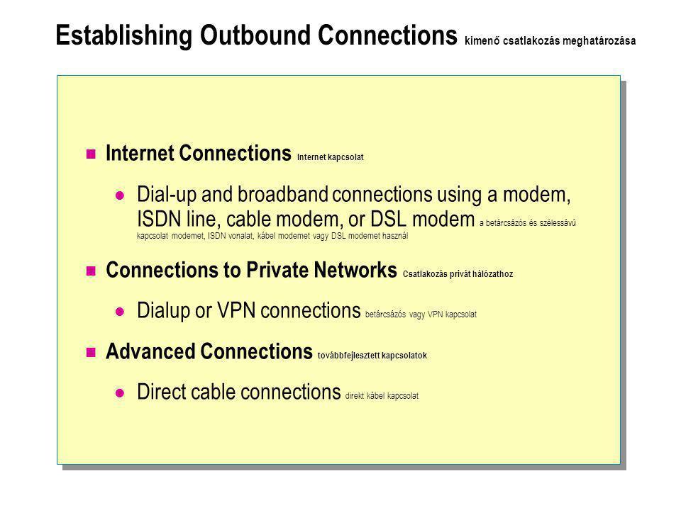 Establishing Outbound Connections kimenő csatlakozás meghatározása  Internet Connections Internet kapcsolat  Dial-up and broadband connections using a modem, ISDN line, cable modem, or DSL modem a betárcsázós és szélessávú kapcsolat modemet, ISDN vonalat, kábel modemet vagy DSL modemet használ  Connections to Private Networks Csatlakozás privát hálózathoz  Dialup or VPN connections betárcsázós vagy VPN kapcsolat  Advanced Connections továbbfejlesztett kapcsolatok  Direct cable connections direkt kábel kapcsolat