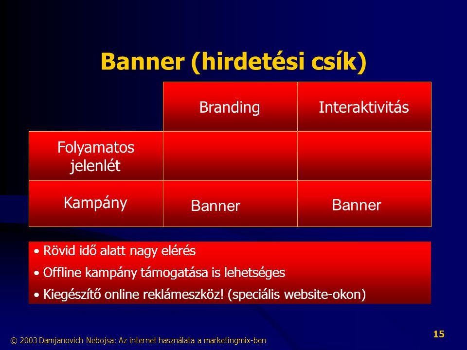 © 2003 Damjanovich Nebojsa: Az internet használata a marketingmix-ben 15 Banner (hirdetési csík) InteraktivitásBranding Kampány Folyamatos jelenlét • Rövid idő alatt nagy elérés • Offline kampány támogatása is lehetséges • Kiegészítő online reklámeszköz.