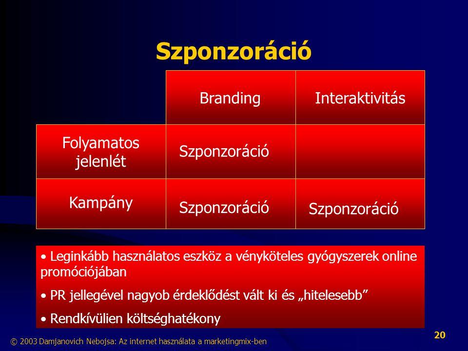 """© 2003 Damjanovich Nebojsa: Az internet használata a marketingmix-ben 20 Szponzoráció InteraktivitásBranding Kampány Folyamatos jelenlét • Leginkább használatos eszköz a vényköteles gyógyszerek online promóciójában • PR jellegével nagyob érdeklődést vált ki és """"hitelesebb • Rendkívülien költséghatékony Szponzoráció"""